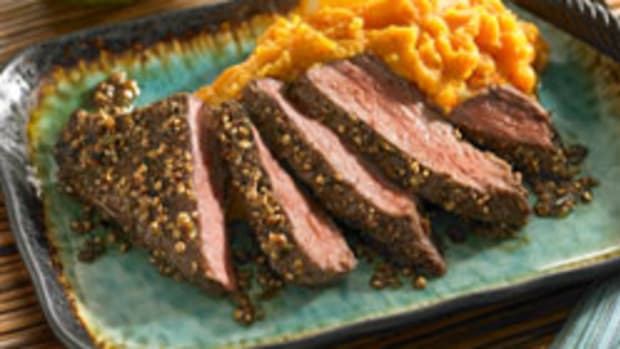 "Citrus Beef Steak ""Cuban Style"" with Mashed Sweet Potatoes"