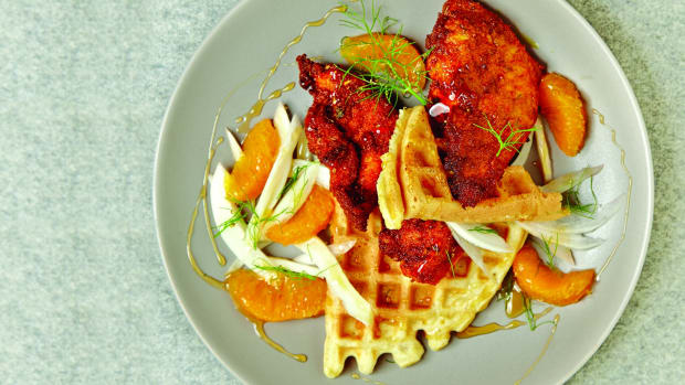 Orange Honey Spicy Fried Chicken on Zestsy Waffles wide