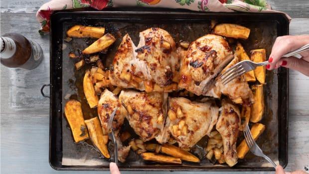 sheet pan tropical chicken