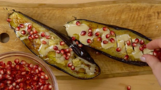 roast eggplant with tahini