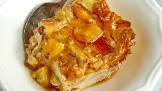 peach matzo brie bake