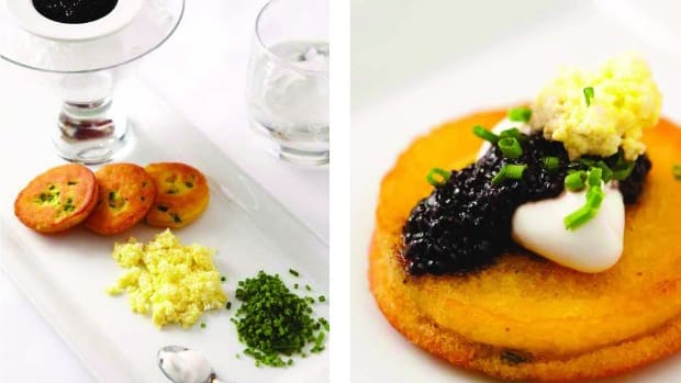 corn and honey blinis with kosher caviar