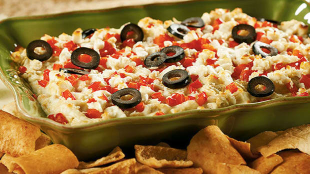 Layered Hot Artichoke & Feta Dip