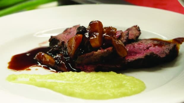 Brined Steak for Two with Fennel Puree and Apricot and Raisin Compote