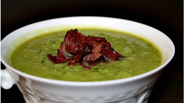 minted pea soup with kosher bacon