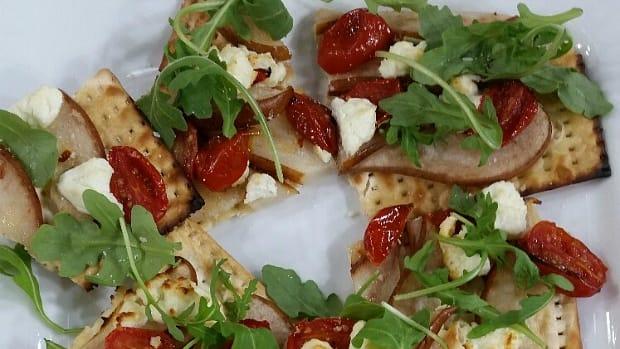 pear matzo pizza
