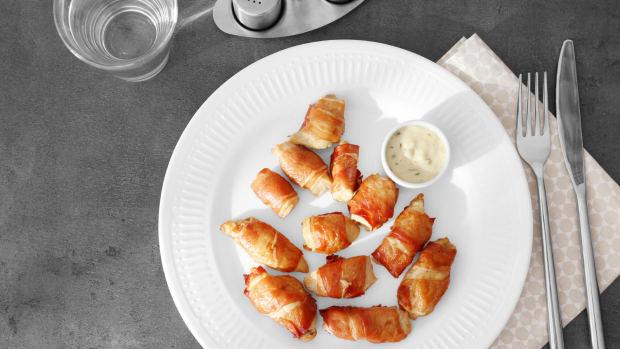 heart attach balls - pastrami wraped chicken bites