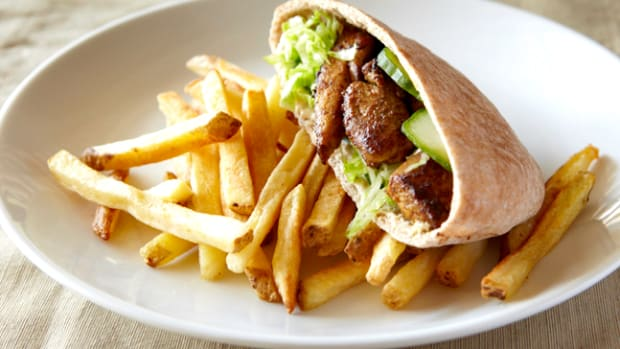 Shawarma Chicken and Chummus Pitas with French Fries