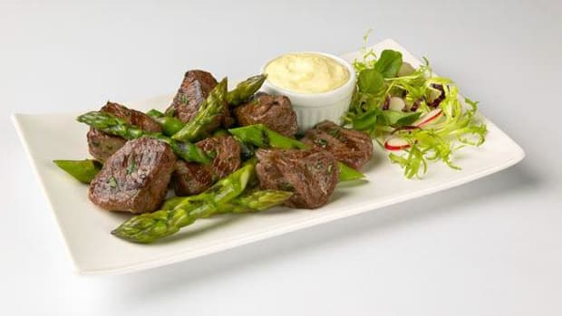 Grilled California Asparagus and Lamb with Mustard Aioli