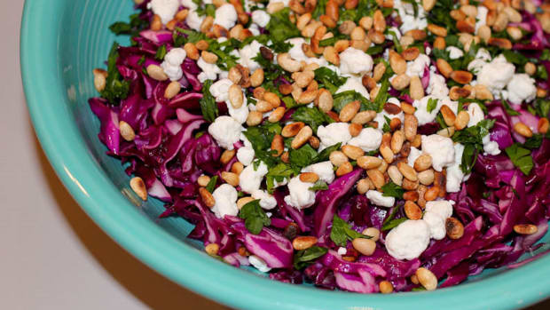 Nutty Cole Slaw and Feta Cheese Salad