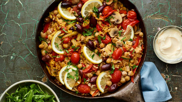 mushroom and fennel fat rice paella