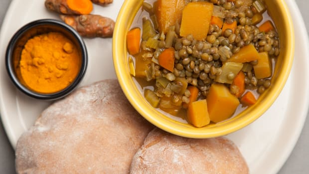 Curried Lentil Soup and Pita