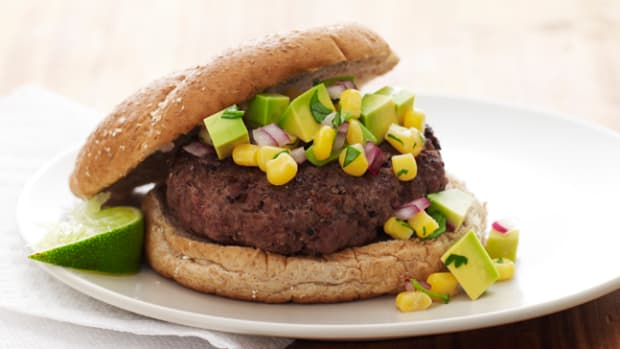 Burger with Avocado and Corn