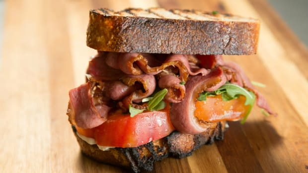 Duck Bacon Lettuce and Tomato on Artisanal Bread