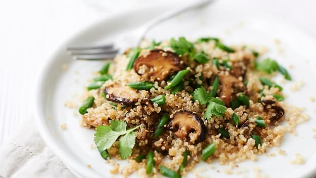 quinoa with shitake oyster mushrooms