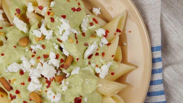 ziti with yogut chili and peas