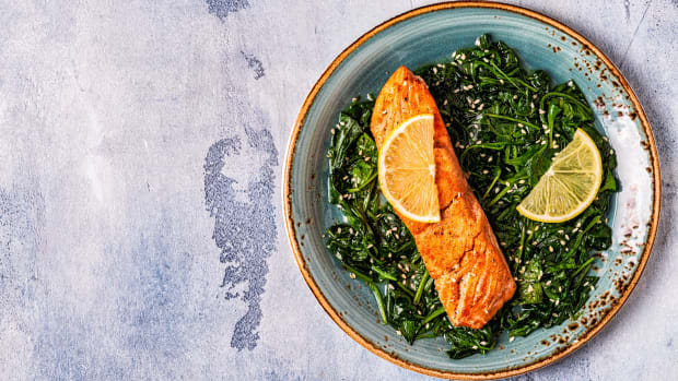 Roasted Sesame Salmon with Wilted Spinach