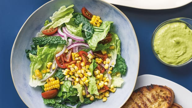 Grilled Chicken & Corn Salad with Avocado-Za'atar Green Goddess Dr