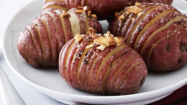 Red Hasselback Potatoes (Recipe courtesy of Joy of Kosher- Fast, Fresh, Family Recipes by Jamie Geller (Harper Collins-William  Morrow 2013)