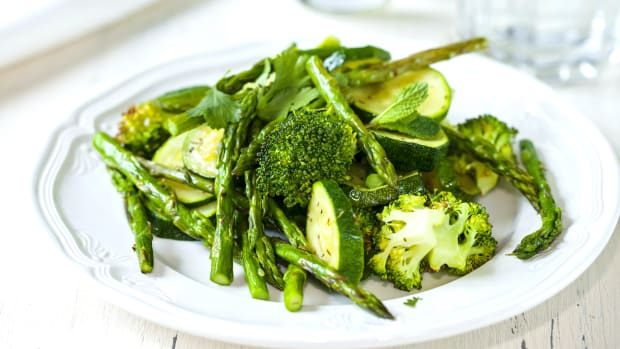 Roasted green veg