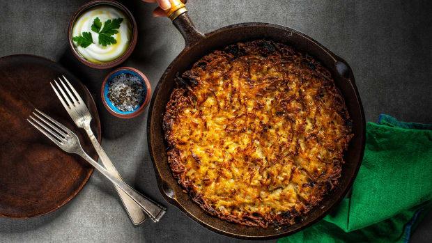 Vegan potato kugel wide