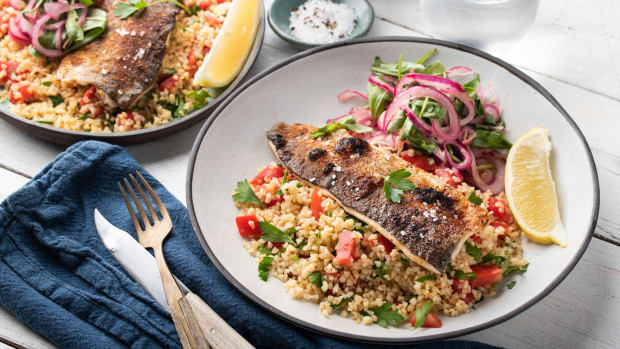 Crispy Lemon Trout with Tomato Tabouleh and Arugula