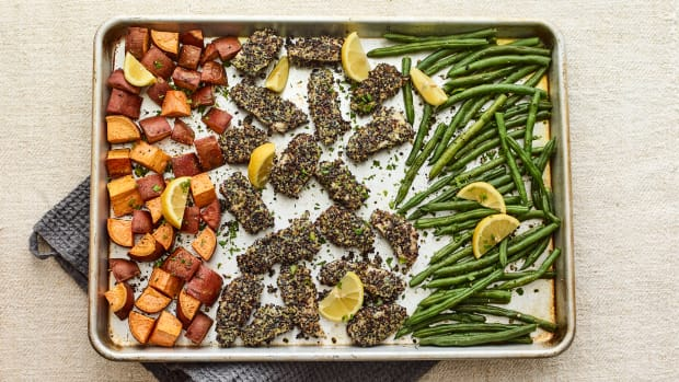 Everything Chicken Nuggets sheet pan dinner