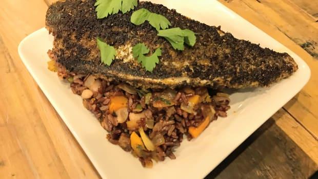 Cajun fish with Dirty Rice