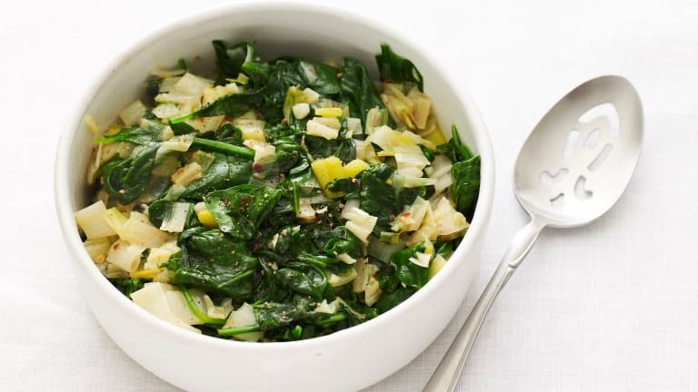 Enjoy the Siman of Leeks and Spinach