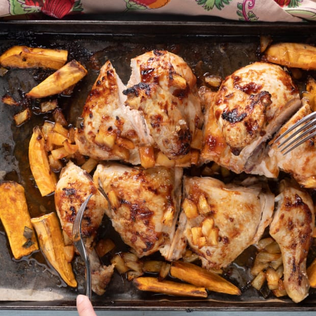sheet pan tropical chicken