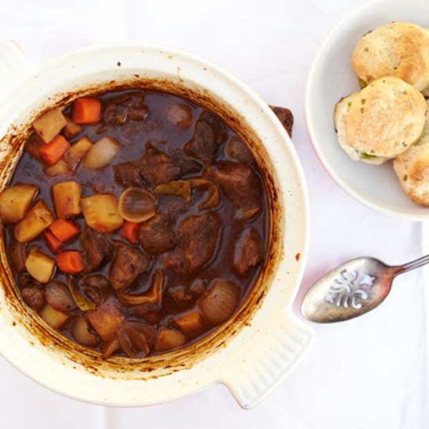 Hearty Beef Stew with Scallion Biscuits
