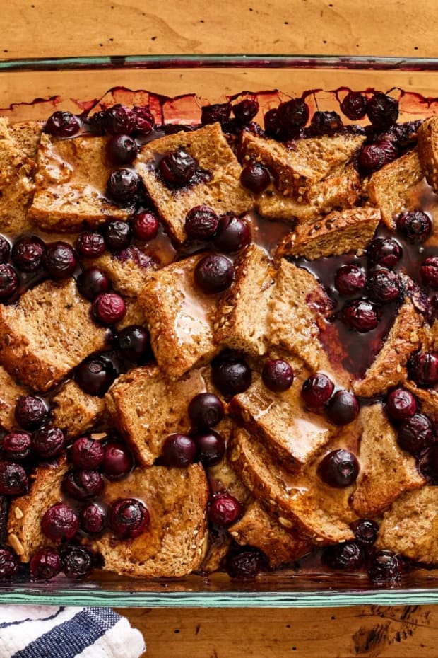 overnight healthy blueberry french toast casserole