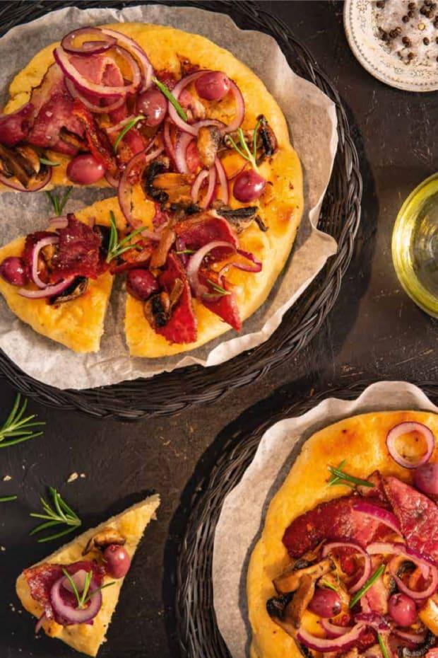 pastrami olive cornmeal flatbread