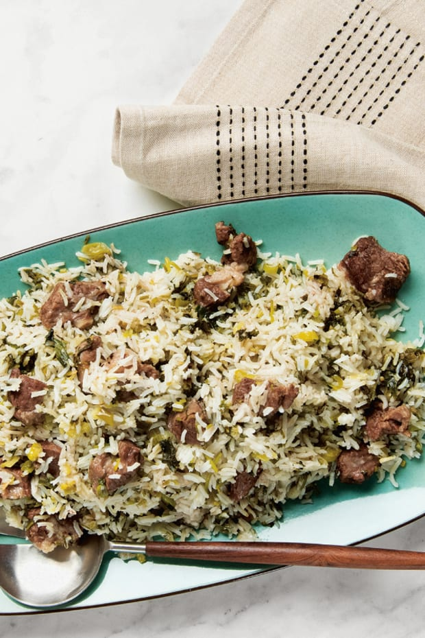 GREEN HERBED RICE WITH MEAT