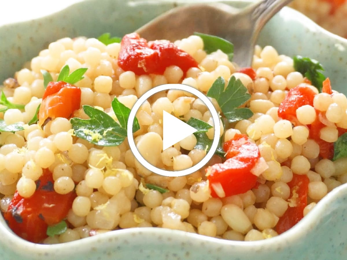 Israeli Couscous With Roasted Red Pepper Jamie Geller
