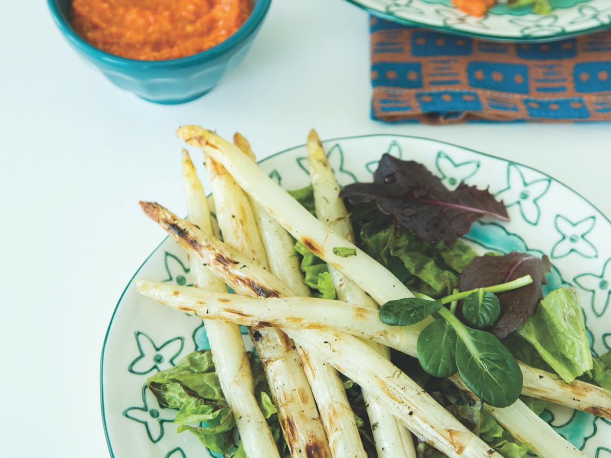 Romesco Asparagus Salad Jamie Geller