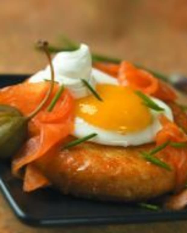Idaho® Potato and Eggs with Smoked Salmon, Creme Fraiche and Chives