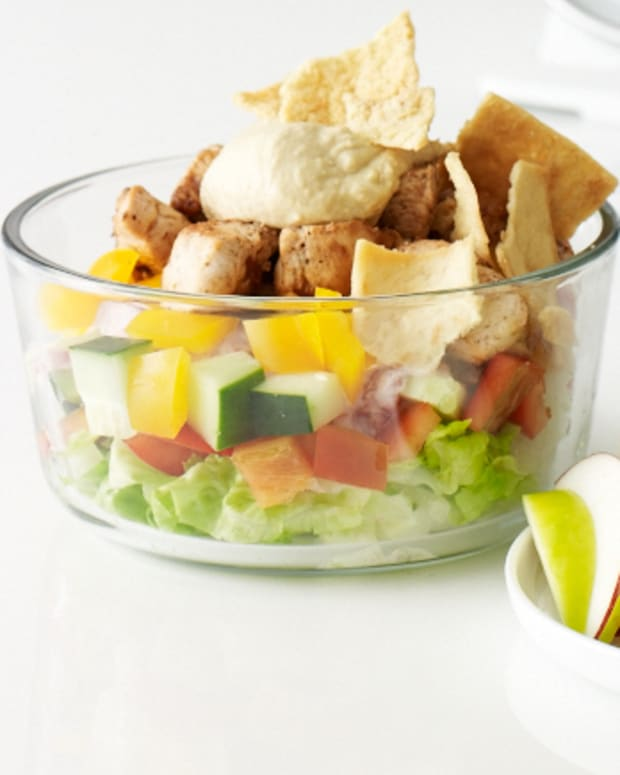 apple chicken and shwarma salad