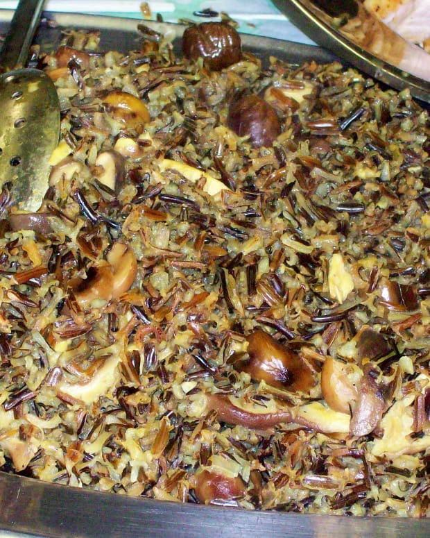 wild rice with mushrooms and chestnuts