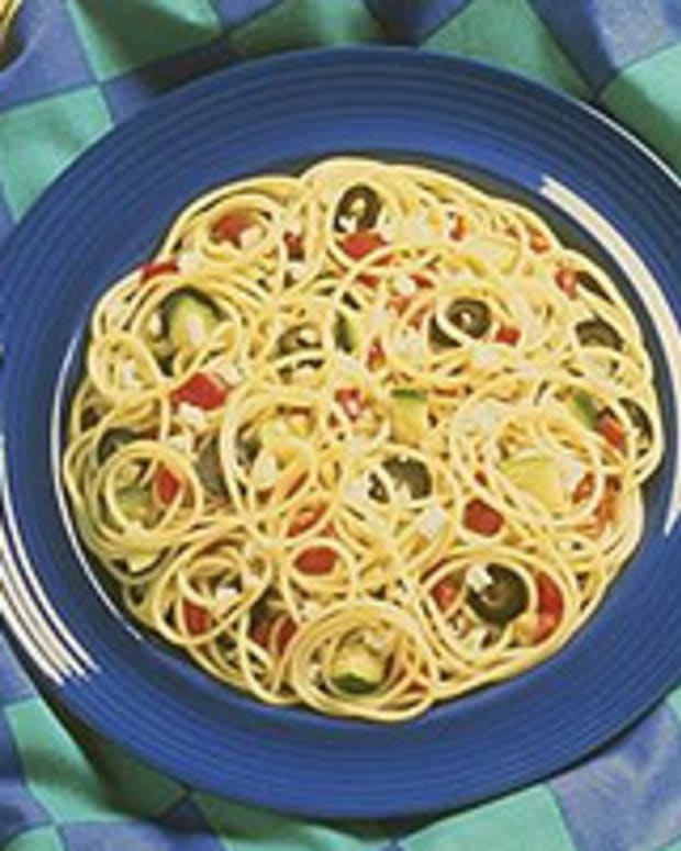 Spaghetti with Roasted Zucchini and Olives