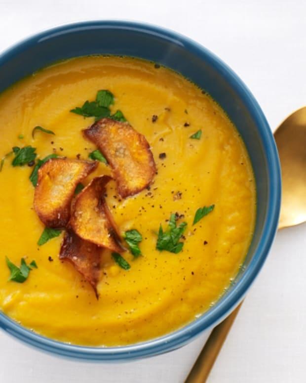 Sweet Potato Soup with Sweet Potato Chips