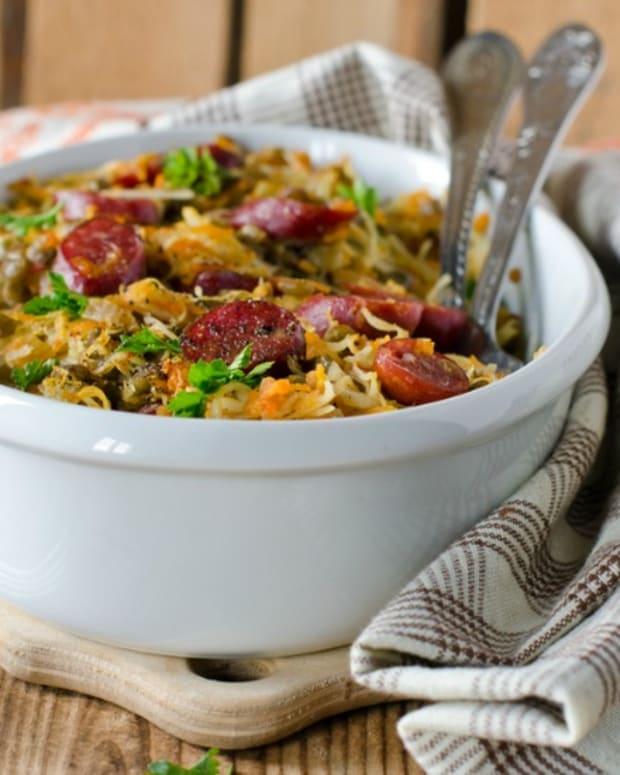 Cabbage Lentil and Sausage Slow Cooker Stew
