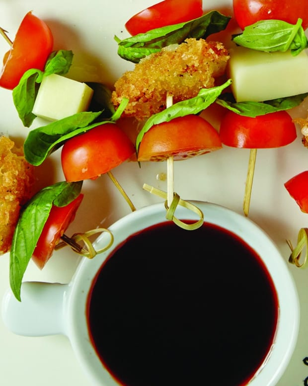 FRIED PROVOLONE TOMATO SKEWERS WITH BALSAMIC