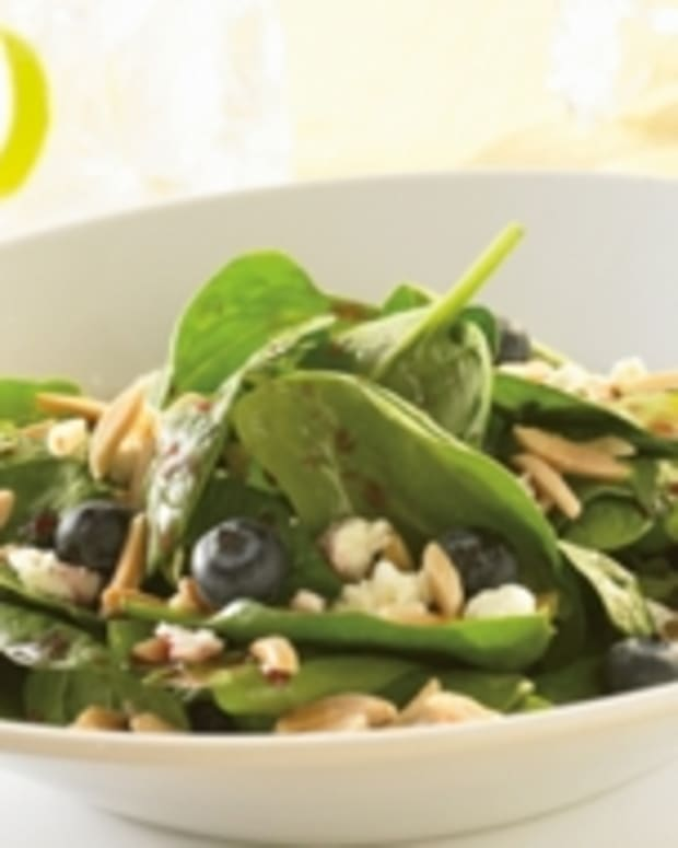 Spinach Salad with Blueberries, Feta Cheese, Slivered Almonds & Berry Mint Dressing