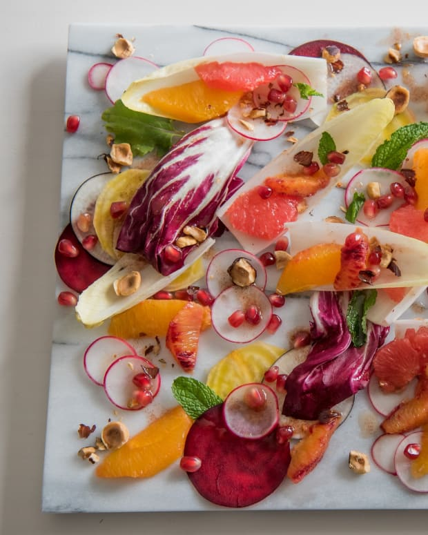 Endive Salad with Beets, Radishes, Citrus and Toasted Cinnamon Hazelnuts