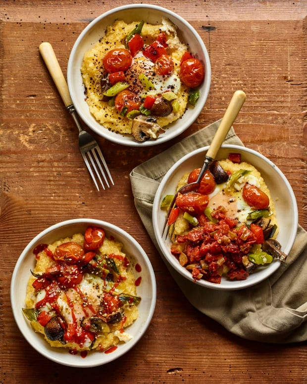 baked polenta with eggs & roasted vegetables