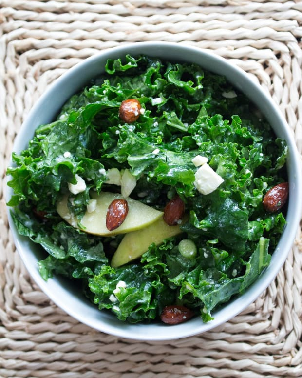 KALE SALAD WITH CANDIED ALMONDS, APPLES AND MAPLE DRESSING