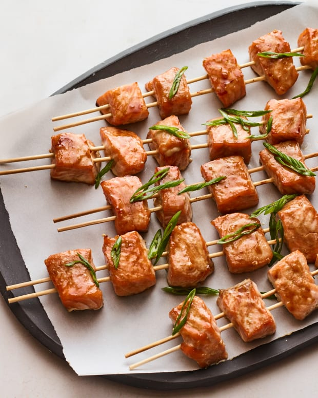 Miso Glazed Salmon Skewers