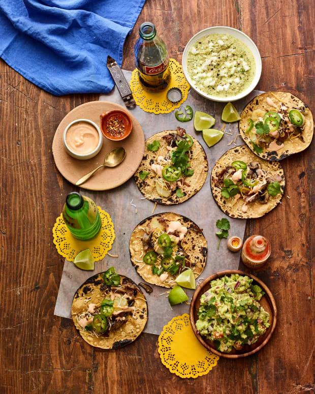 vegetarian taco bar