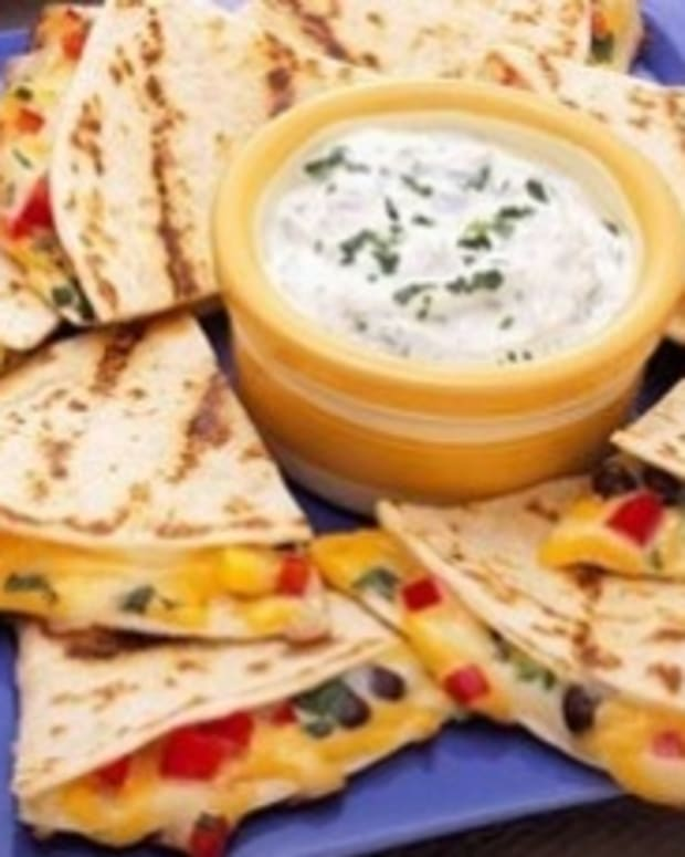 Confetti Quesadillas with Cilantro Yogurt Dip